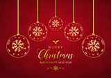 Decorative Christmas and New Year background with hanging bauble