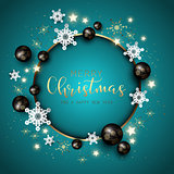 Christmas and New Year background with snowflakes, baubles and d