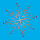 Snowflake icon isolated on blue background. Winter Christmas ele