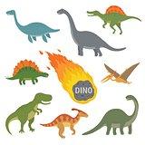 Vector illustration of happy Cartoon Dinosaur Character Set
