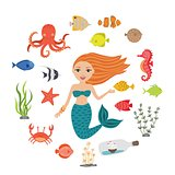 Marine illustrations set. Little cute cartoon mermaid, funny fish, starfish, bottle with a ship, algae, crab, seahorse, octopus. Sea theme.