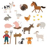 Cute Farm animals set in flat style isolated on white background. Cartoon farm animals.