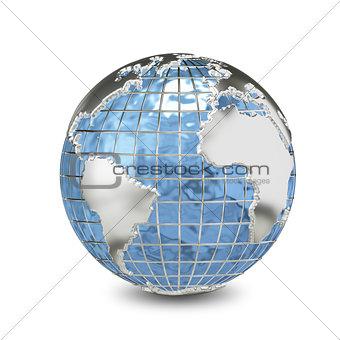 3D Illustration Metal Globe