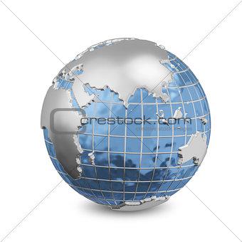 3D Illustration Metal Globe_2