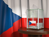 Ballot box with flag of Czech republic and voting papers. Czech