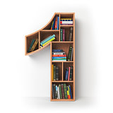 Number 1 one. Alphabet in the form of shelves with books isolate