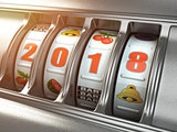 Happy New Year 2018 in casino. Slot machine with number 2018.