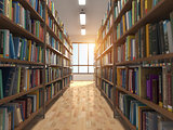 Library stacks of books and bookshelf.