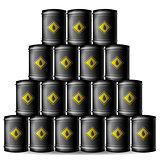 Set of Black Metal Oil Barrels