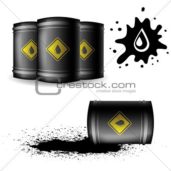 Metal Oil Barrels Isolated on White Background