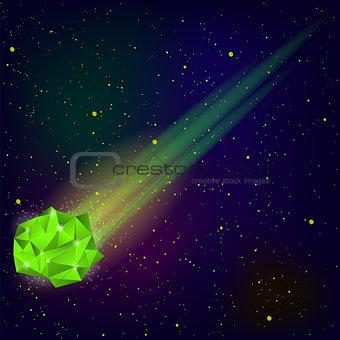 Green Falling Meteor