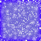 Showflakes Pattern on Blue Sky Background