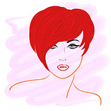 Model with short red hair