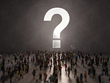 People with questions. 3D Rendering