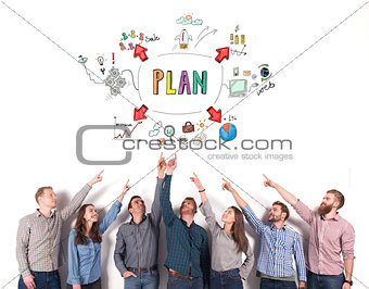 Business team indicate a business project. concept of creative idea and teamwork