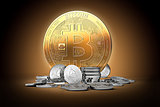 Golden bitcoin surrounded by silver ethereum coins