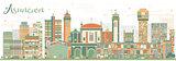 Abstract Asuncion Skyline with Color Buildings.