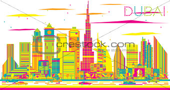 Abstract Dubai Skyline with Color Buildings.