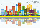 Las Vegas Skyline with Color Buildings, Blue Sky and Reflections