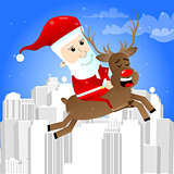 Santa Claus riding a reindeer.