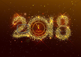 2018 new year number golden confetti on dark background. Clock face dial with Roman numerals show midnight New Year Eve