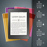 Ebook reader, Book reader, book icon. Business infographic.