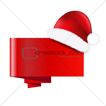 Christmas Banner With Santa Claus Cap
