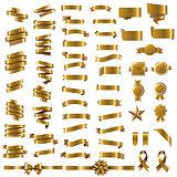 Golden Ribbon Set In White Background