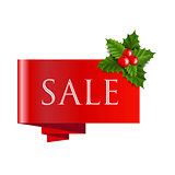 Sale Christmas Banner With Holly Berry-
