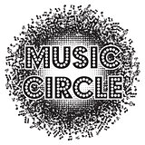 Abstract round monochrome background with music notes. vector illustration