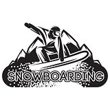vector monochrome template with snowboarder in a jump