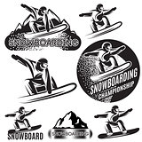 set of vector monochrome sports templates with various snowboarders on background of snow and mountains
