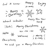 Merry Christmas and New Year hand drawn lettering