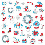 Christmas set icon stickers can be used for advent