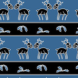 Christmas stripes seamless pattern with deers
