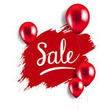 Red Blot With Balloons Sale Poster
