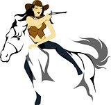 Cowgirl gunslinger on a horse