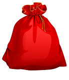 Red tied closed full santa bag with gifts. Christmas accessory