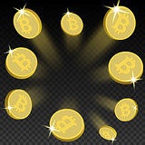 Crypto currency golden coin bitcoin on transparent background. Vector