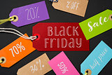 black friday and labels with different percentages