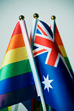 australian and rainbow flags