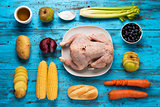 ingredients to prepare a stuffed turkey