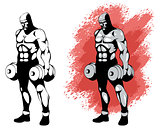 Bodybuilder in two variants