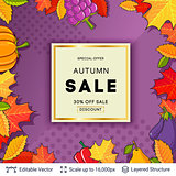 Autumn sale background template.