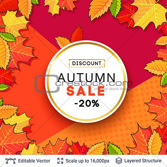 Autumn sale background template.