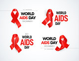 Hiv awareness logo set. Red ribbons with glare, world aids day signs collection. Stop AIDS vector illustrations.