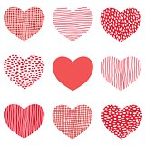 Red hearts pattern of hand drawn sketch heart icons Art design for Valentine day.