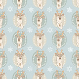 Vector seamless pattern with cute deer on light blue.