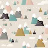 Mountain seamless pattern. Flat style cartoon Mountain