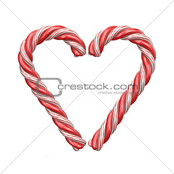 Christmas decoration heart made of candy canes 3D